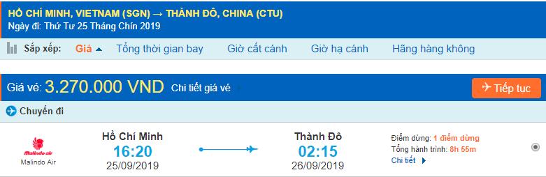 Vé máy bay đi Thành Đô từ tp Hồ Chí Minh
