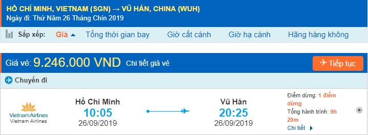 Vé máy bay đi Vũ Hán từ Hồ Chí Minh
