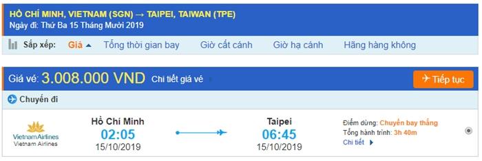 Vé máy bay Hồ Chí Minh đi Taipei