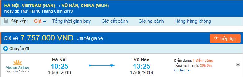 Vé máy bay đi Vũ Hán từ Hà Nội