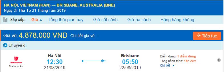 Vé máy bay đi Brisbane từ Hà Nội