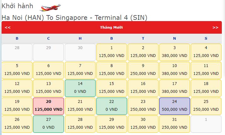 khuyến mãi 0 Đồng từ Vietjet hành trình Hn đi Singapore