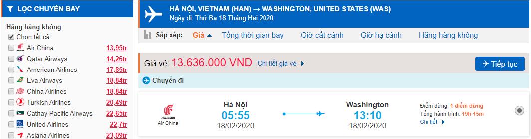 Vé máy bay Hà Nội đi Washington Dc