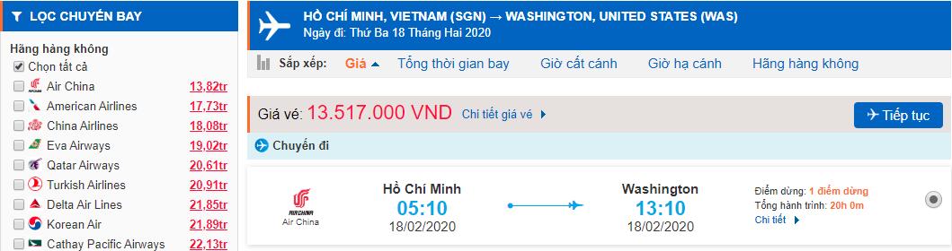 Vé máy bay TPHCM đi Washington Dc