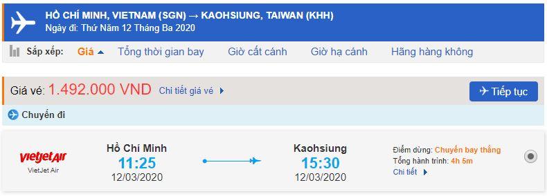 Vé máy bay Vietjet Air đi Cao Hùng