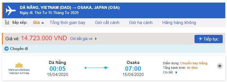 Vé máy bay Đà Nẵng đi Osaka