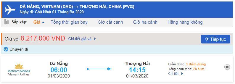 Vé máy bay Đà Nẵng đi Thượng Hải bao nhiêu?