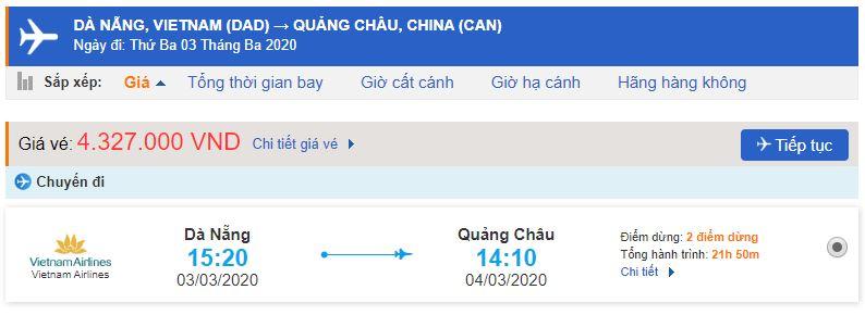 Giá vé máy bay Đà Nẵng Quảng Châu