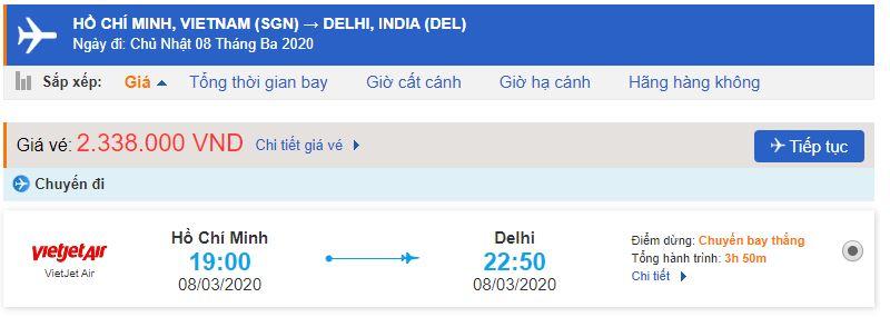 Giá vé máy bay đi Ấn Độ Vietjet Air