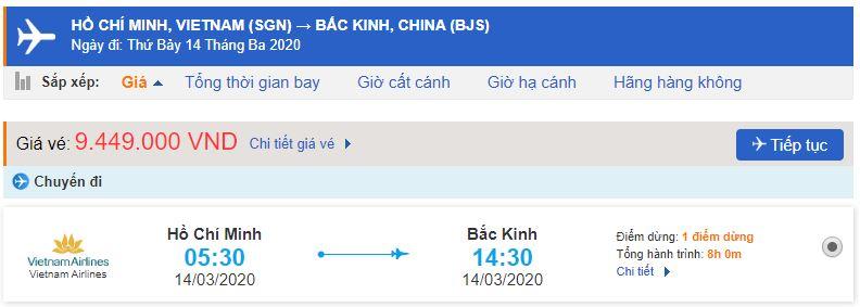 Giá vé máy bay đi Trung Quốc Vietnam Airlines