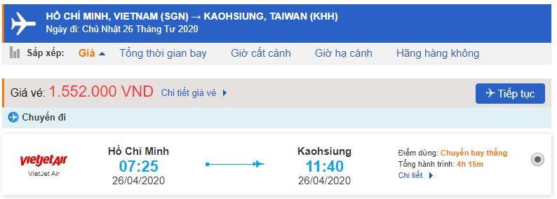 Vé máy bay đi Đài Loan Cao Hùng từ Hồ Chí Minh