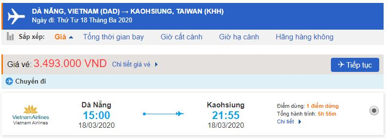 Vé máy bay đi Cao Hùng từ Đà Nẵng