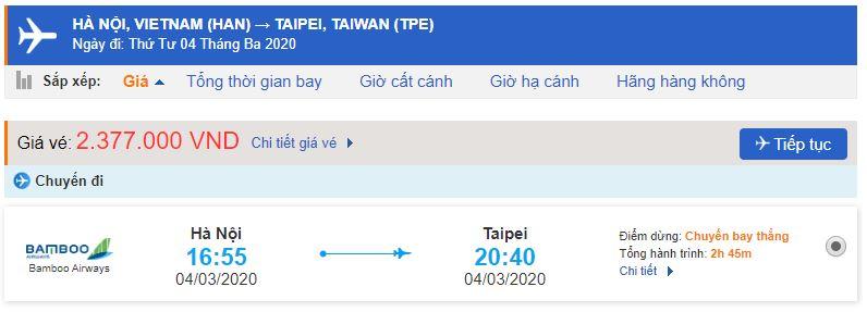 Giá vé máy bay đi Đài Bắc Bamboo Airways