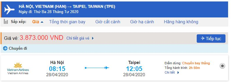 Vé máy bay đi Đài Loan Vietnam Airlines