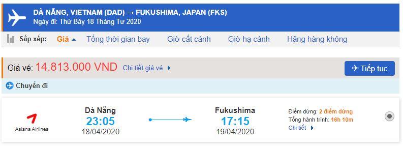 Vé máy bay Fukushima từ Đà Nẵng