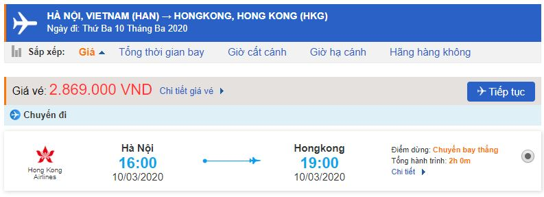 Giá vé máy bay Hong Kong Airlines