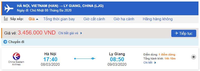 Vé máy bay Vân Nam Lệ Giang