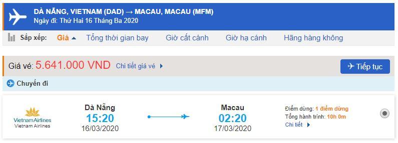 Vé máy bay Đà Nẵng đi Macau