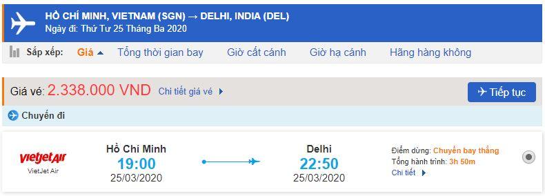 Vé máy bay từ TPHCM đi New Delhi Vietjet Air