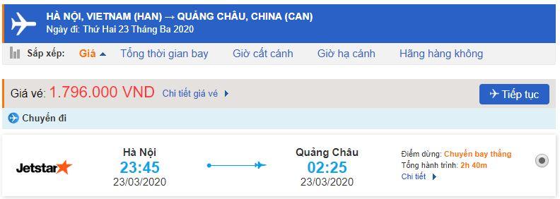 Vé máy bay đi Quảng Châu Jetstar Pacific