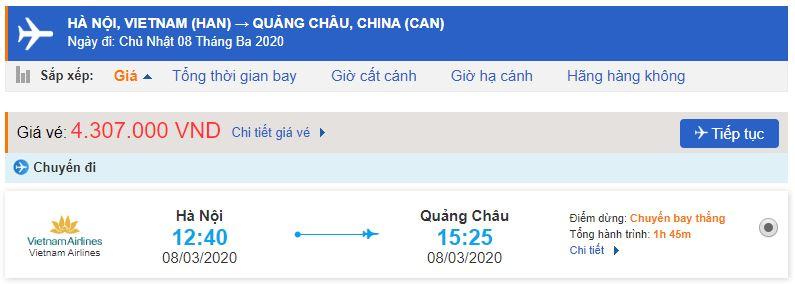 Vé máy bay Hà Nội đi Quảng Châu Vietnam Airlines