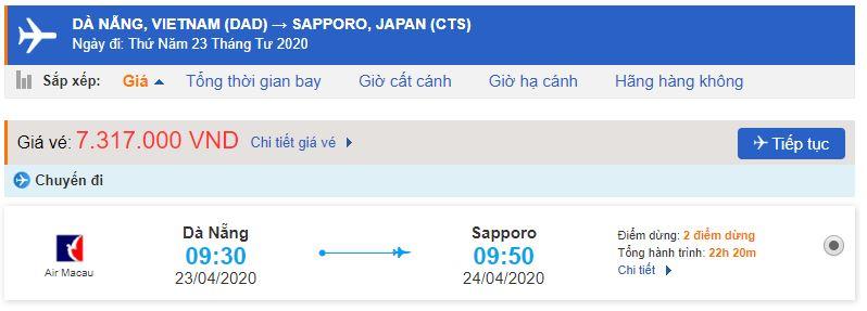 Vé máy bay Đà Nẵng đi Sapporo