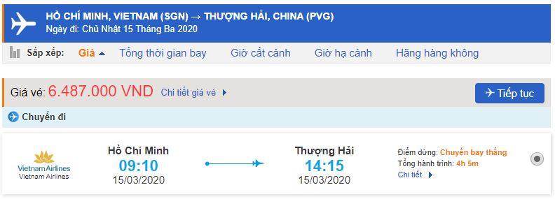 Vé máy bay TPHCM đi Thượng Hải Vietnam Airlines