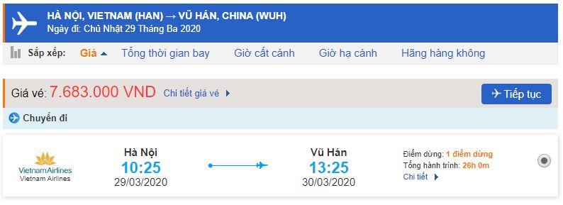 Vé máy bay Vietnam Airlines đi Vũ Hán