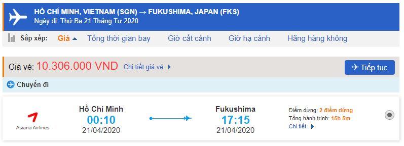 Vé máy bay giá rẻ từ TPHCM đi Fukushima