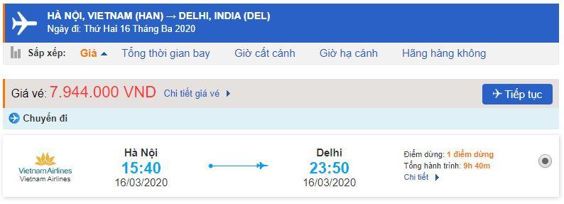 Vé máy bay từ Hà Nội đi Ấn Độ