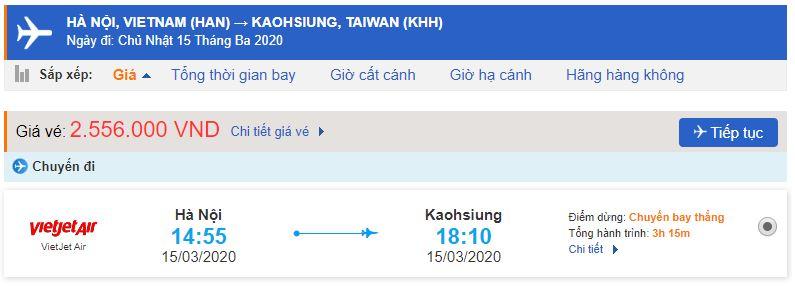 Giá vé máy bay Hà Nội Cao Hùng Vietjet Air