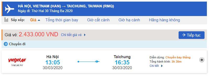 Vé máy bay đi Đài Trung Vietjet Air