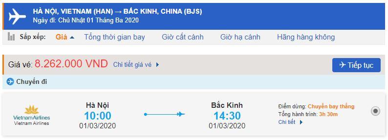 Vé máy bay Vietnam Airlines đi Bắc Kinh