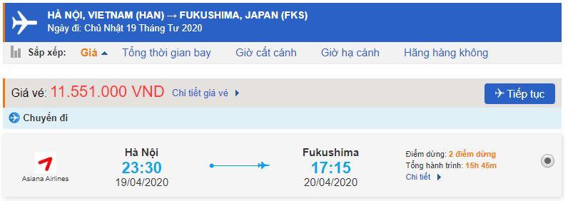 Giá vé máy bay đi Fukushima bao nhiêu tiền?