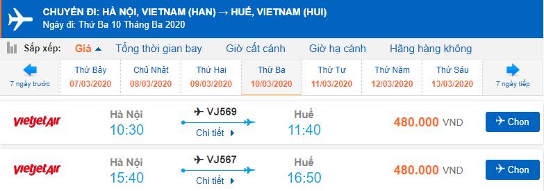 Vé máy bay đi Huế Vietjet Air từ Hà Nội