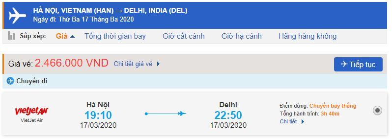 Giá vé máy bay Hà Nội New Delhi bao nhiêu tiền?