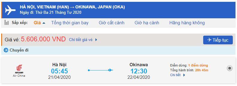 Giá vé máy bay đi Okinawa bao nhiêu tiền?