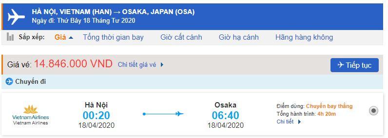 Giá vé máy bay Vietnam Airlines đi Osaka