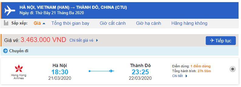 Vé máy bay từ Hà Nội đi Thành Đô giá rẻ