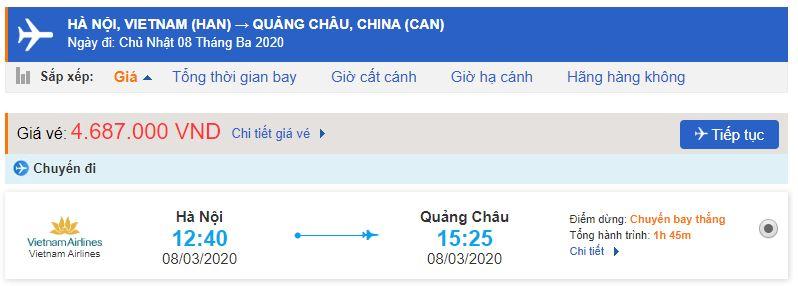Giá vé máy bay Vietnam Airlines đi Quảng Châu