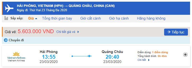 Vé máy bay Hải Phòng Quảng Châu bao nhiêu tiền?