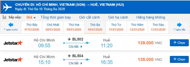 Giá vé máy bay đi Huế từ Sài Gòn Jetstar Pacific