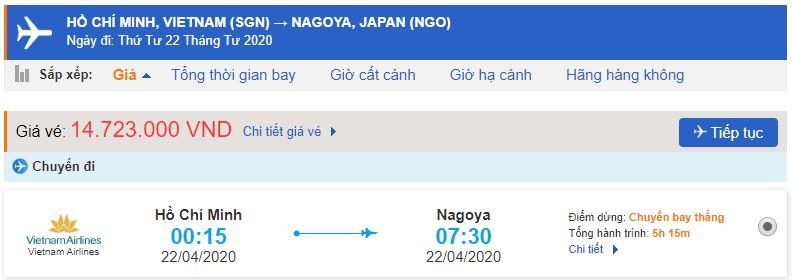 Vé máy bay từ TPHCM đến Nagoya