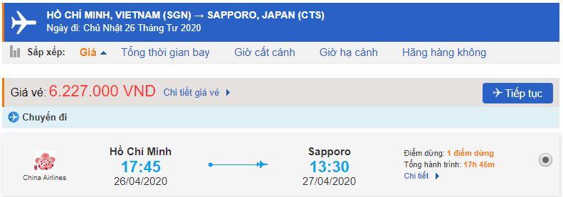 Giá vé máy bay từ Hồ Chí Minh đi Sapporo