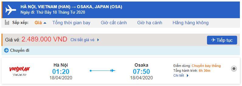Giá vé máy bay Vietjet đi Osaka