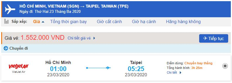 Giá vé máy bay Vietjet đi Đài Bắc