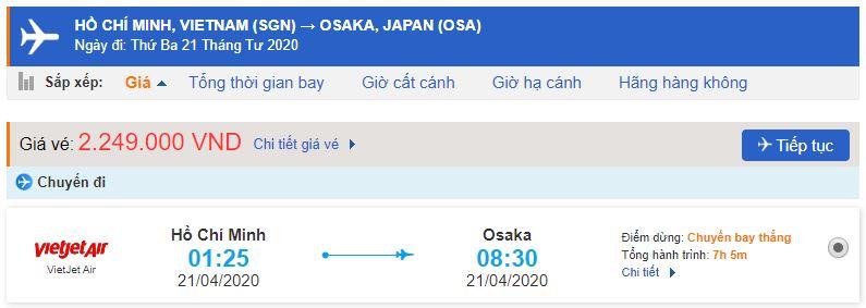 Vé máy bay từ Sài Gòn đi Osaka