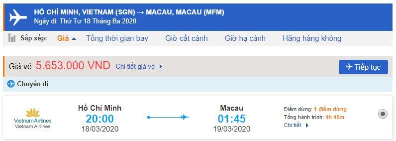 Giá vé máy bay từ TPHCM đi Macau