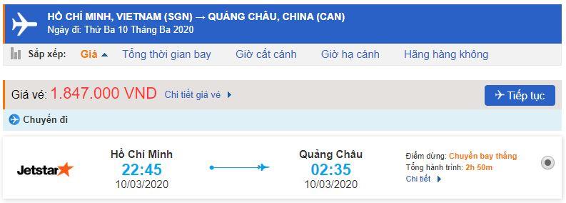 Vé máy bay Sài Gòn Quảng Châu
