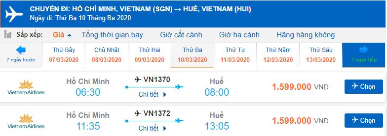 Vé máy bay TPHCM Huế Vietnam Airlines